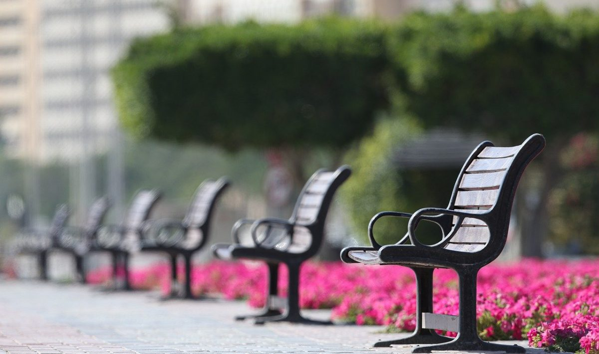 image of benches to represent social distancing